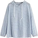 Womens Long Sleeve Stripe Print Patchwork O Neck Sweatshirt Casual Hooded Pullovers Blouse Tops Shirts