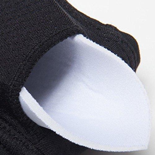 beepeak moda mujer compresión de secado rápido Acolchado espalda cruzada sujetador deportivo Negro