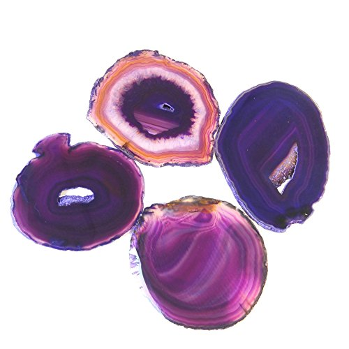 Natural Sliced Dyed Agate Coaster with Rubber Bumper Set of 4 (Q. 1 Purple, 3-3.5