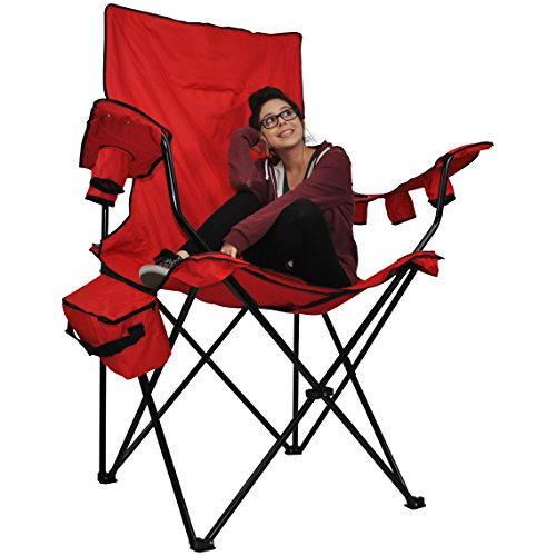 - Prime Time Outdoor Giant Kingpin Folding Chair Chair Hunter Camouflage with 6 Cup Holders Cooler Bag and Portable Carrying Case (Red)