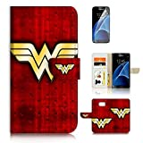 ( For Samsung S7 , Galaxy S7 ) Flip Wallet Case Cover & Screen Protector Bundle - A0989 Wonder Woman