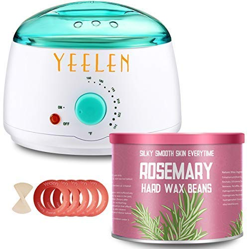 Rosemary Essential Oil Yeelen Wax Warmer Hair Removal Waxing Kit with 10.58oz Essential Oil Hard Wax Beans, 10 Wax Applicator Spatulas and 5 Wax Collars for Body, Face, Legs, Bikini Area