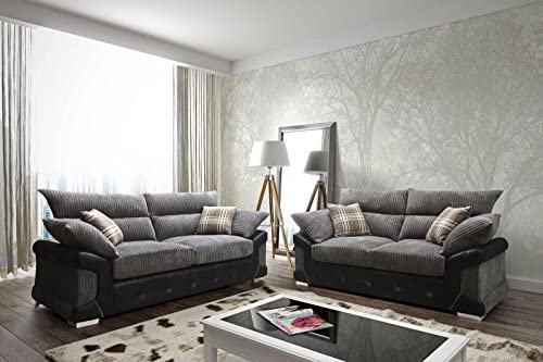 sleepkings Logan Jumbo Cord 3+2 Sofa Set In Black/Grey 2017 Design Direct  From The Manufacturer