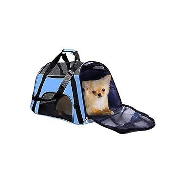kunfang Bolsa de Transporte para Perros/Gatos,Bolsa Transporte de Mascotas Plegable,Bolsa Plegable para Viaje de Tren y Avión,Almacene hasta 11 kg: ...