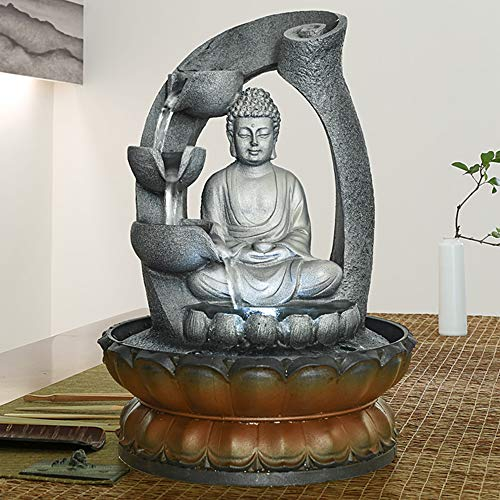 PeterIvan Buddha Fountain - 11in Buddha Tabletop Water Fountain for Home&Office Decoration, Decorative Sculpture with LED Light&Circular Water Flow for Good Luck Keeping (Grey, 11inch) (Fountain Budha)