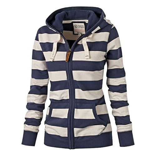 Sun Lorence Women Casual Long Sleeve Striped Hooded Sweatshirts Zipper Coats Blue L