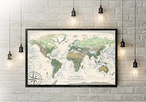 World Map Push Pin The Nautilus World Map Large Framed Map