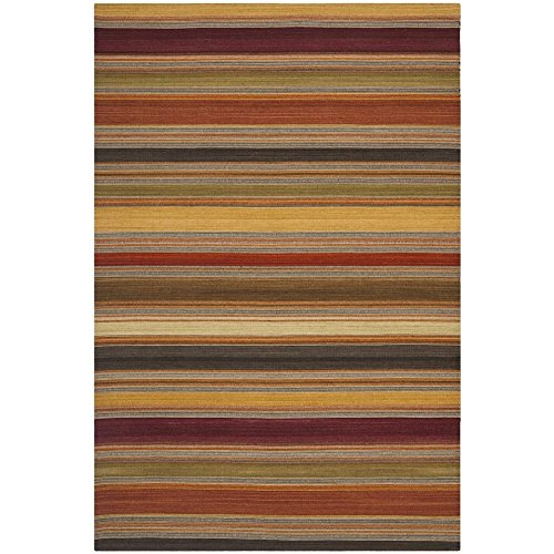 Safavieh Striped Kilim Collection STK315A Hand Woven Gold Premium Wool Area Rug (2'6