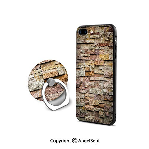 iPhone 7/8 Case with 360°Degree Swivel Ring,Urban Brick Slate Stone Wall with Rocks Featured Facade Architecture Town Picture,Durable Soft Touching,Multicolor