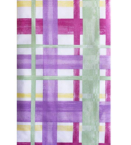 """(Newbridge Watercolor Plaid Print Vinyl Flannel Backed Tablecloth - Lavender, Green and Yellow Contemporary Plaid Indoor/Outdoor Print Tablecloth - 60"""" x 120"""" Oblong/Rectangle)"""