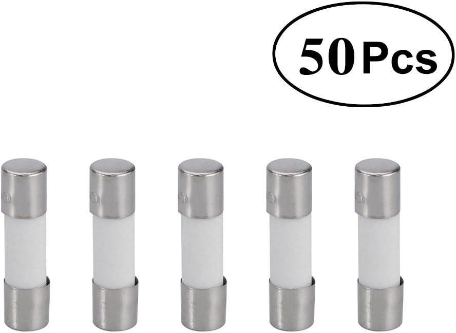 50 paquete, 5x20m m UKCOCO Fusibles de T6.3A de los fusibles de cer/ámica del golpe lento 250V 6.3A