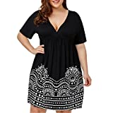 Owill Fashion Womens Plus Size Empire Waist A Line Printed Short Sleeve V-Neck Dress (Black, 3XL)