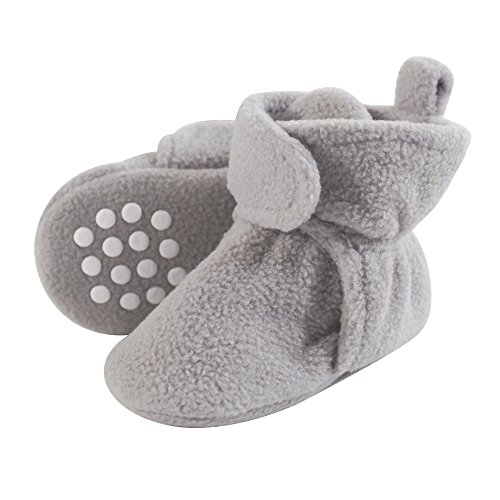 Luvable Friends Baby Cozy Fleece Booties with Non Skid Bottom, Neutral Gray, 6-12 Months