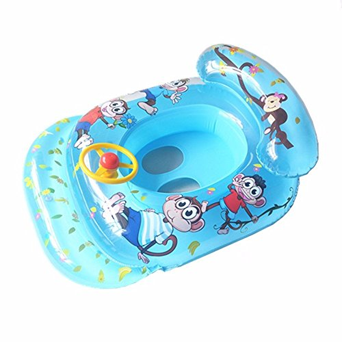 thitiwat New Baby Kids Cartoon Monkey Pattern Swimming Ring Float Seat With Bearing Circle Handle Water Swim Pool Rings(blue)