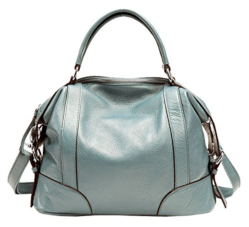 SAIERLONG Ladies Designer Womens Lake Blue Fashion Soft Leather Handbags Shoulder ()