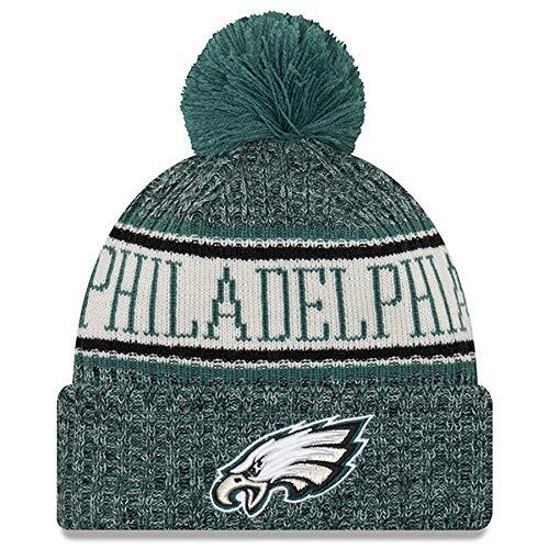 buy popular 1c37d f3d83 New Era Knit Philadelphia Eagles Green On Field Sideline Sport Knit Winter  Stocking Beanie Pom Hat