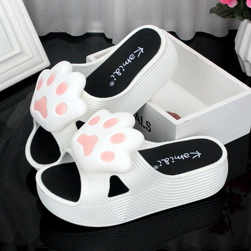 heeled slippers high anti skid summer fankou shoes 36 lovely soft female slippers Slippers stay thick cool sandy female beaches white stylish P4nCwFnqxB