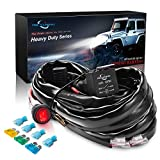 MICTUNING HD+ 12 Gauge 600W LED Light Bar Wiring Harness Kit w/ 60Amp Relay, 3 Free Fuse, On-off Waterproof Switch Red(2 Lead)