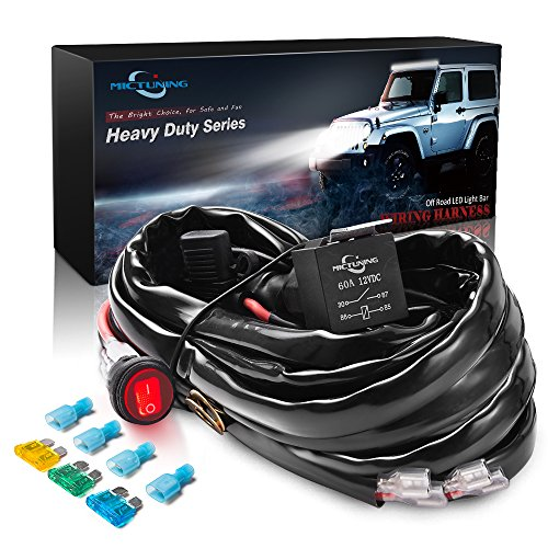 MICTUNING HD+ 12 Gauge 600W LED Light Bar Wiring Harness Kit w/ 60Amp Relay, 3 Free Fuse, On-off Waterproof Switch Red(2 Lead) Auto Wiring Harnesses