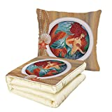 iPrint Quilt Dual-Use Pillow Mermaid Decor Mermaid in Porthole Window Aquatic Cockleshell Mythology Yacht Nautical Multifunctional Air-Conditioning Quilt