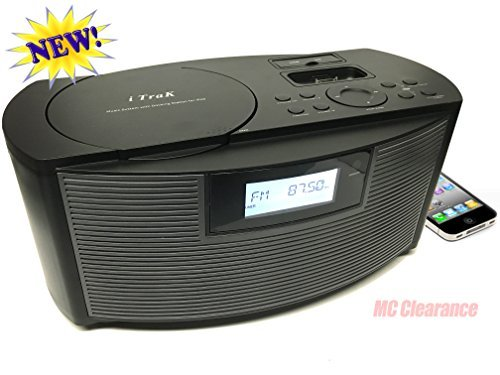 Ipod Docking Station With Cd Player - iTrak AM/FM/CD/MP3 Portable CD Boombox Speaker with iPhone & IPod Audio & Charging Docking Station 8110GBMO + Aux in Jack + USB & SD Reader - Black (Refurbished)