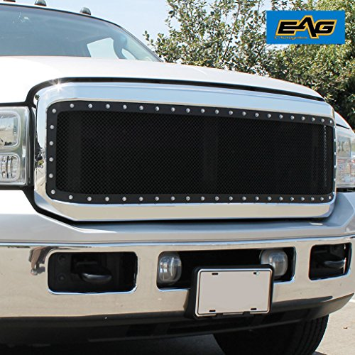 Chrome Mesh Grille Heavy (EAG 2005-2007 Ford F250/F350 Super Duty Grille Rivet Mesh Grill With Chrome Shell)