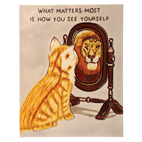 Benaya Art Ceramics What Matters Most Ceramic Tile Art - Hand Painted Cat and Lion Wall Hanging with Easel for Tabletop Display - 8