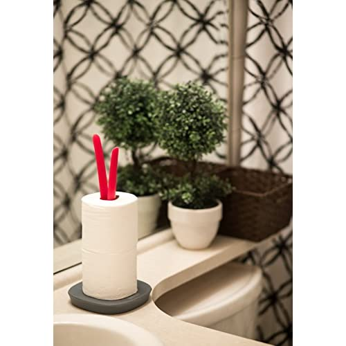 """80%OFF """"Sprout"""" Decorative Paper Towel Holder or Toilet Paper Holder - Vertical Red Countertop Paper Towel Stand or Toilet Roll Stand, Toilet paper storage - Sturdy No-Slip Base - 11.75"""" x 6"""""""