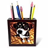 "Marty The Soulful Eyed Dog Tile Pen Holder is great on a desk or counter top. Made of high quality solid wood with a satin finish. Image displayed on one inset high gloss 4.25"" x 4.25"" ceramic tile. Overall size is 5"" x 5"" x 1 2/3"" with 3- 1 ..."