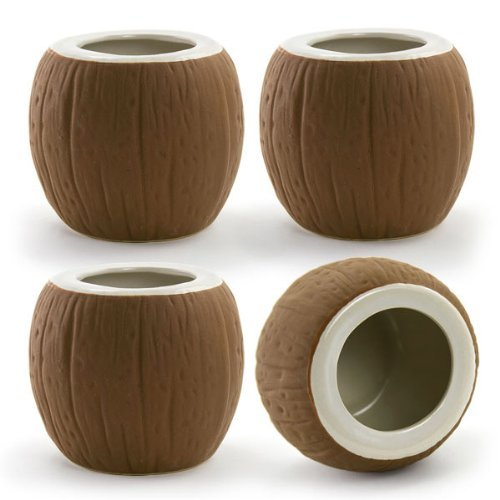 Coconut Tiki Mugs Set of 4