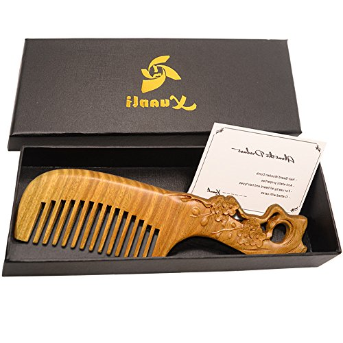 Price comparison product image Xuanli Wood Combs Natural Green Sandalwood Combs Handmade Combs For Hair No Static M003