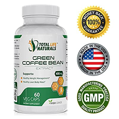 Pure Green Coffee Bean Extract Pills with 50% Chlorogenic Acid per Vegetarian Capsule | Natural Weight Loss Support for Men and Women | Made in the USA by Total Life Naturals