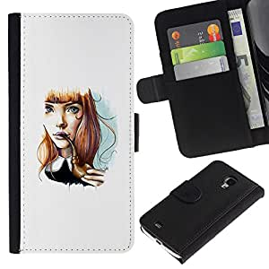 For Samsung Galaxy S4 Mini i9190 MINI VERSION!,S-type® Girl Cartoon Minimalist White - Dibujo PU billetera de cuero Funda Case Caso de la piel de la bolsa protectora