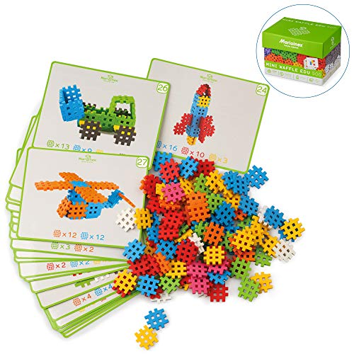 - ECR4Kids Waffle Block Minis with 28 Cue Cards | 500 Piece Flexible Interlocking Block Set | A Sensory STEM Alternative to Building Blocks for Creative and Collaborative Playtime | Age 3+ (500 Pieces)