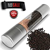 Double-ended Manual Salt & Pepper Mill,2 in 1 stainless steel...