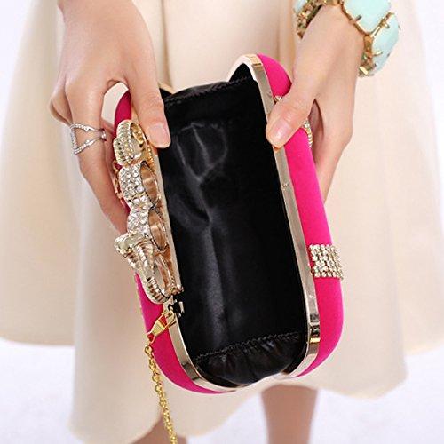 Flada Strass Flanelle Femmes pour tête Sacs à Pochette Soirée main Rosé design Main à Sacs pour Bleu Serpent Embrayage Mariage ISSqxf6wr