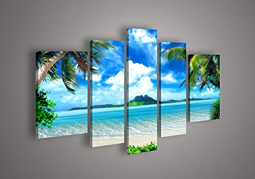 [Medium] Premium Quality Canvas Printed Wall Art Poster 5 Pieces / 5 Pannel Wall Decor Azure Sky Ocean Painting, Home Decor Pictures - With Wooden (Azure Home Decor)
