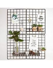 Gadgy Set van 2 opvouwbare wandrasterdecoratie | Metalen organizer Memo Board met accessoires | Wire Mesh panelen voor foto's opslag | Esthetische kamer decor in Scandinavische stijl | 31,5 x 23,5 inch.