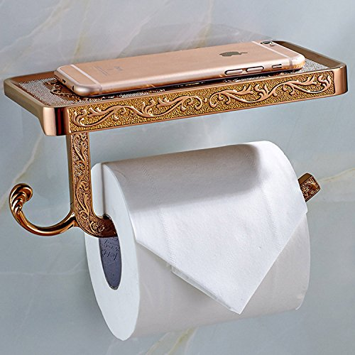 ThinkTop Antique Carving Toilet Roll Paper Holder with Phone Shelf Wall Mounted Bathroom Paper Rack and Hook-Rose Gold