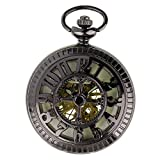 PACIFISTOR Unisex Luminous Dial Hand Wind Up Skeleton Mechanical Black Analog Pocket Watch with Fob Chain