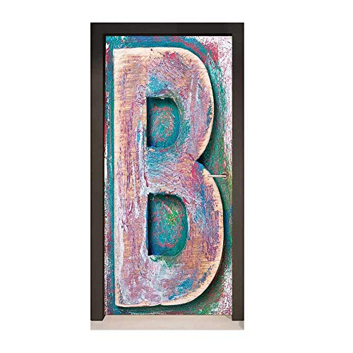 - Letter B 3D Door Wallpaper Old Fashioned Print Method Wood Block Alphabet ABC Type Worn Capital B Creative Self-Adhesive Decoration Teal Ivory Dark Coral,W17.1xH78.7