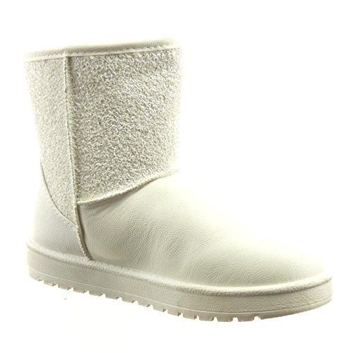 Sopily - damen Mode Schuhe Stiefeletten Strass - Weiß