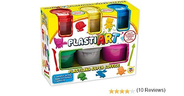 TEOREMA 64320 – PlastiArt 6 tarros de plastilina de Colores con Utensilios para modelar: Amazon.es: Juguetes y juegos