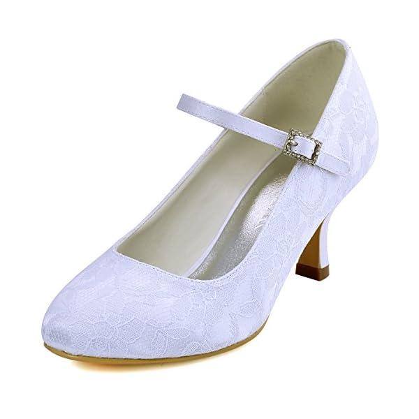 b670acc0bfa3 ElegantPark Women Mary Jane Pumps Closed Toe Mid Heel Lace Wedding Bridal  Shoes