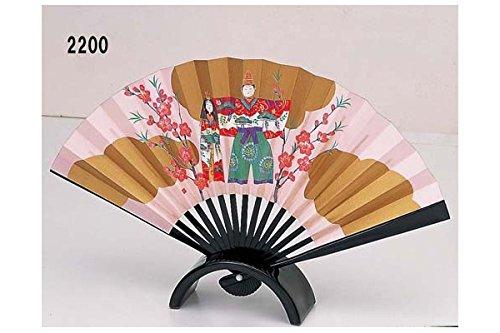 Hina-ningyo Folding Fan Painted Japanese Traditional Kimono Doll 2200
