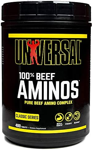 Universal Nutrition – 100 Beef Aminos -3g of Beef Protein Isolate for Recovery and Growth – 400 Tabs