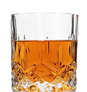 Grandeur Whiskey Glasses Luxury Gift Box Set of 4. Lead Free Double Old Fashioned Crystal. Perfect Gift of Whisky Tumblers Glass as a Birthday present, Fathers and Mothers day, Christmas present. Money back satisfaction guarantee.
