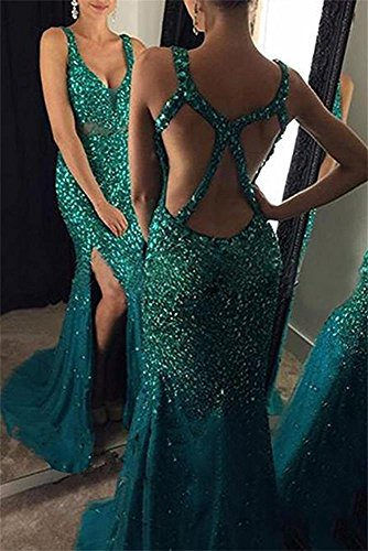 DreHouse Evening Split Mermaid Crystal Side Beaded Prom Women's Purple 2017 Dresses rnqtYwrU