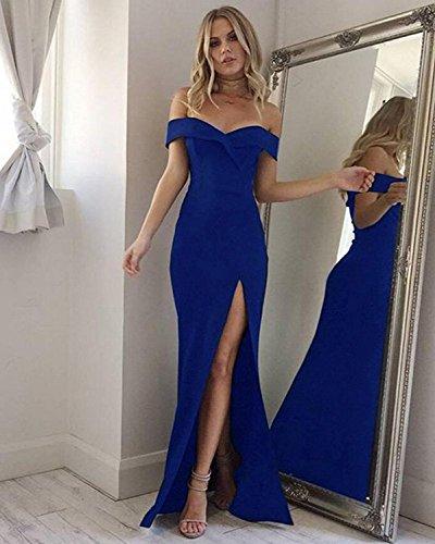 Minetom® Women's Formal Evening Maxi Sleeveless Dress Off Shoulder Ball Gown Wedding Party Dresses Cocktail For Women Blue LDmRoa