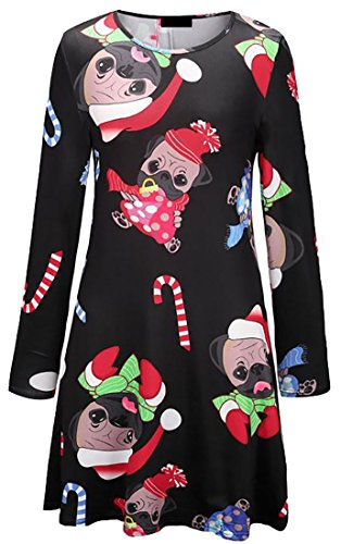2 Crewneck Dresses Print Midi Cruiize Womens Xmas Tops Blouse Fashion EcBAcO6qz7
